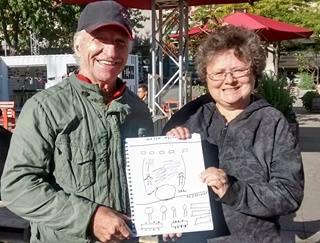 Maurice, participant au projet Dessine-Moi Gamelin et son amie Céline